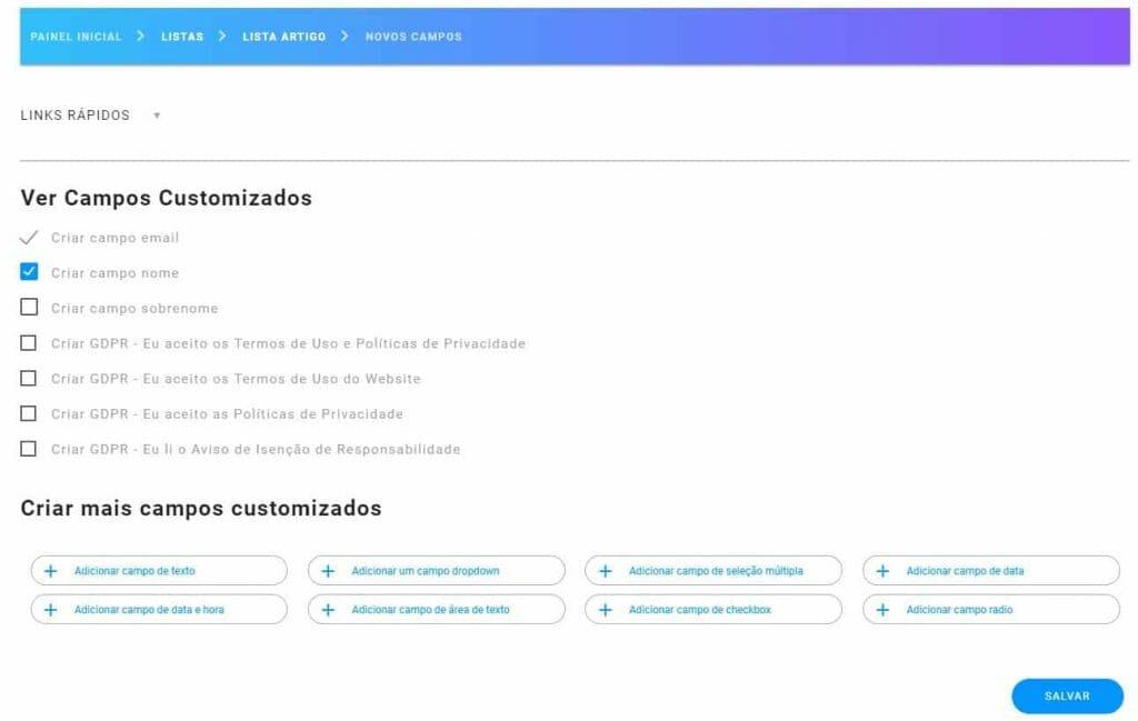 03 Como criar campos no formualário do Mailingboss